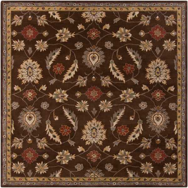 Hand-tufted Calisto Traditional Floral Chocolate Wool Rug (4' Square)