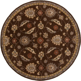 Hand-tufted Calisto Chocolate Wool Traditional Floral Rug (6' Round)