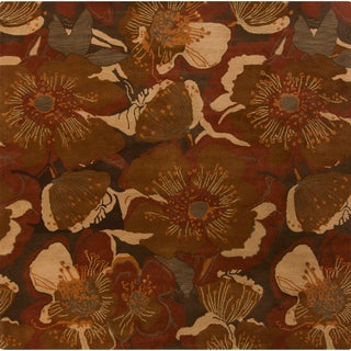 Hand-tufted Caerwyn Sepia Wool Transitional Floral Area Rug-(6' Square)