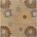Hand-tufted Cahil Pussywillow Beige Wool Transitional Floral Area Rug (6' Square)