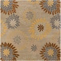 Hand-tufted Cahil Pussywillow Grey Wool Transitional Floral Area Rug (6' Square)