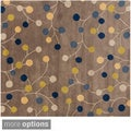 Hand-tufted Cailan Mossy Stone Wool Transitional Floral Rug (6' Square)