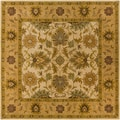 Hand-tufted Caley Tan Wool Classic Floral Rug (6' Square)
