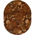 Hand-tufted Caerwyn Sepia Wool Transitional Floral Rug (8' x 10' Oval)