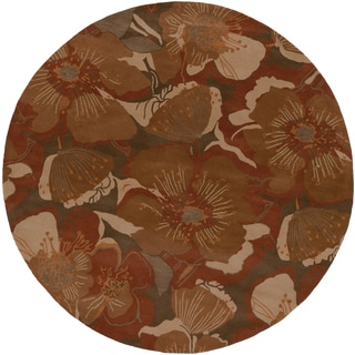Hand-tufted Caerwyn Transitional Floral Wool Rug (9'9 Round)