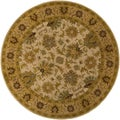 Hand-tufted Caley Classic Floral Wool Tan Rug (9'9 Round)