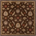 Hand-tufted Calisto Traditional Floral Wool Chocolate Rug (9'9 Square)