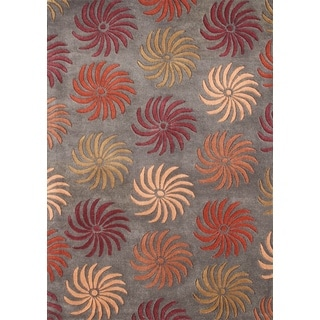 ZnZ Rug Gallery Hand-made Pompeian Red Wool Rug (5' x 8')
