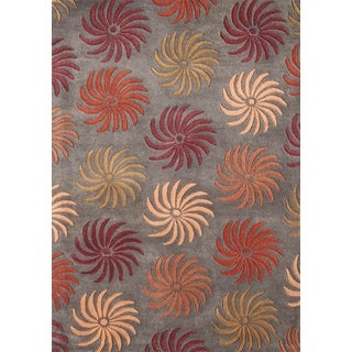 ZnZ Rug Gallery Hand-made Pompeian Red Wool Rug (8' x 10')