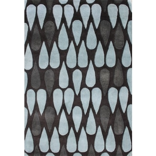 ZnZ Rug Gallery Hand-made Black Olive Wool Rug (8' x 10')