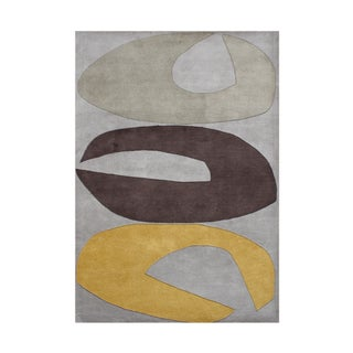 ZnZ Rug Gallery Hand-made Grey Wool Rug (8' x 10')