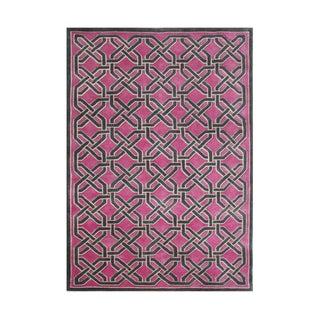 Alliyah Handmade Magenta New Zealand Blend Wool Rug (5' x 8')