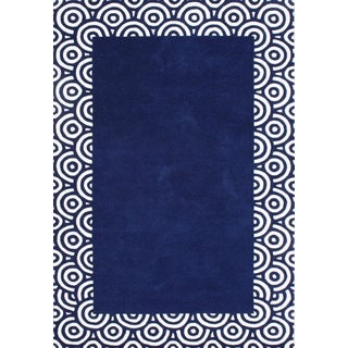 ZnZ Rug Gallery Hand-made Patriot Blue Wool Rug (8' x 10')