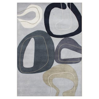 ZnZ Rug Gallery Hand-made Wind Chime Grey Wool Rug (8' x 10')