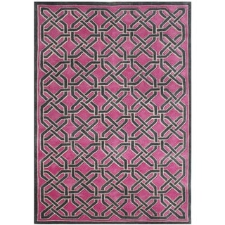 Alliyah Handmade Magenta New Zealand Blend Wool Rug (8' x 10')
