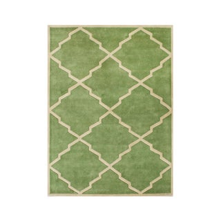 ZnZ Rug Gallery Hand-made Forest Green Wool Rug (8' x 10')