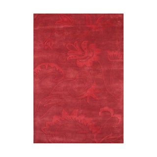 ZnZ Rug Gallery Hand-made Mars Red Wool Rug (5' x 8')