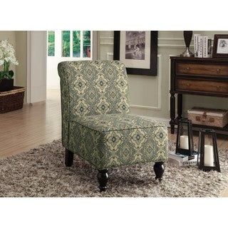 Turquoise/ Blue Tapestry Fabric Traditional Accent Chair
