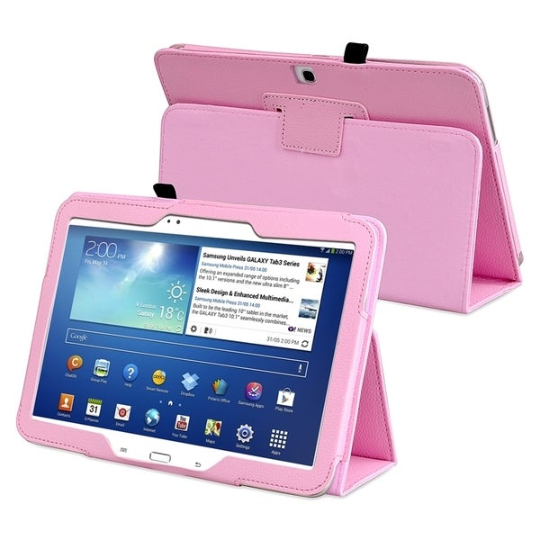INSTEN Pink Leather Tablet Case Cover with Stand for Samsung Galaxy Tab 3 10.1