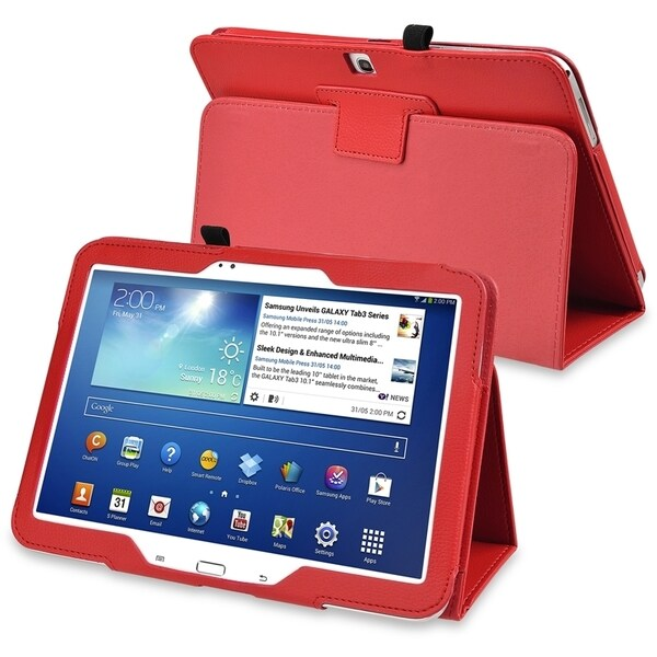 INSTEN Red Leather Tablet Case Cover with Stand for Samsung Galaxy Tab 3 10.1