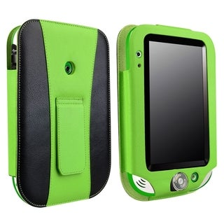 BasAcc Green/ Black Leather Case with Stand for LeapFrog LeapPad Ultra