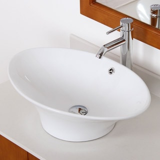Elite 4110F371023C High-temperature Grade-A Oval Ceramic Bathroom Sink and Chrome Finish Faucet Combo
