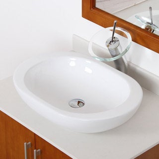 Elite 4156F22TC High-temperature Grade-A Oval Ceramic Bathroom Sink and Chrome Finish Waterfall Faucet Combo