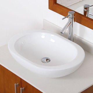 Elite 41562659C High-temperature Grade-A Oval Ceramic Bathroom Sink and Chrome Finish Faucet Combo