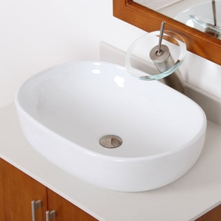 Elite 4916F22TBN High-temperature Grade-A Oval Ceramic Bathroom Sink and Brushed Nickel Waterfall Faucet Combo