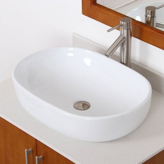 Elite 49162659BN High-temperature Grade-A Oval Ceramic Bathroom Sink and Bushed Nickel Finish Faucet Combo