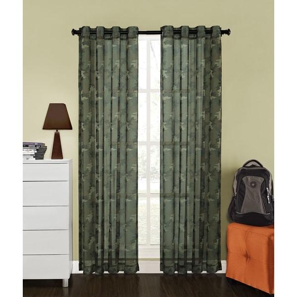 Camo print sheer 84 inch grommet curtain panel 15668653 overstock