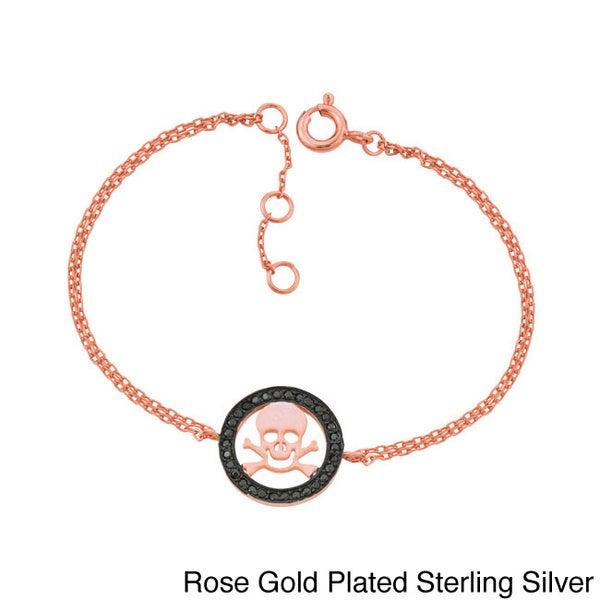 Sterling Silver Black Cubic Zirconia Skull and Crossbones Bracelet