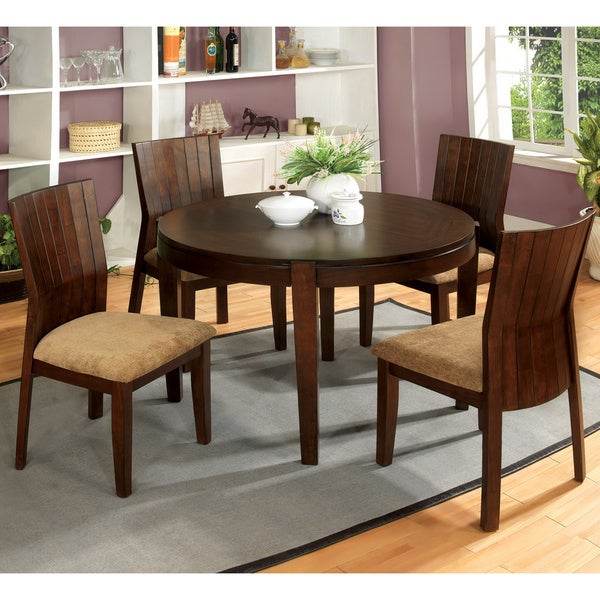 Dustin round 42 inch walnut 5 piece dining set table for Dining room tables 42 round