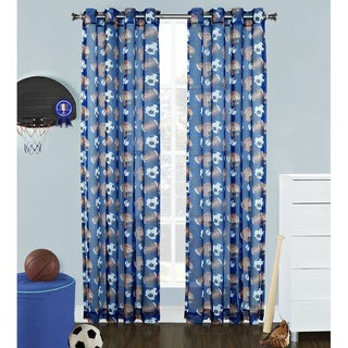 Sports Fan Sheer 84-inch Grommet Curtain Panel