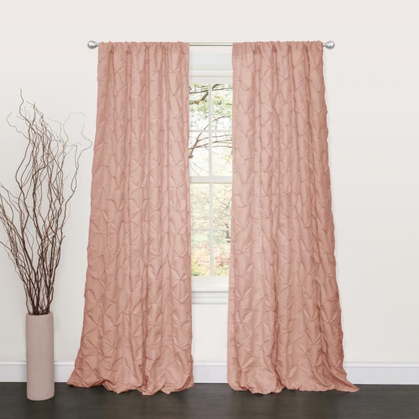 Lake Como Peach Polyester 84-inch Curtain Panel