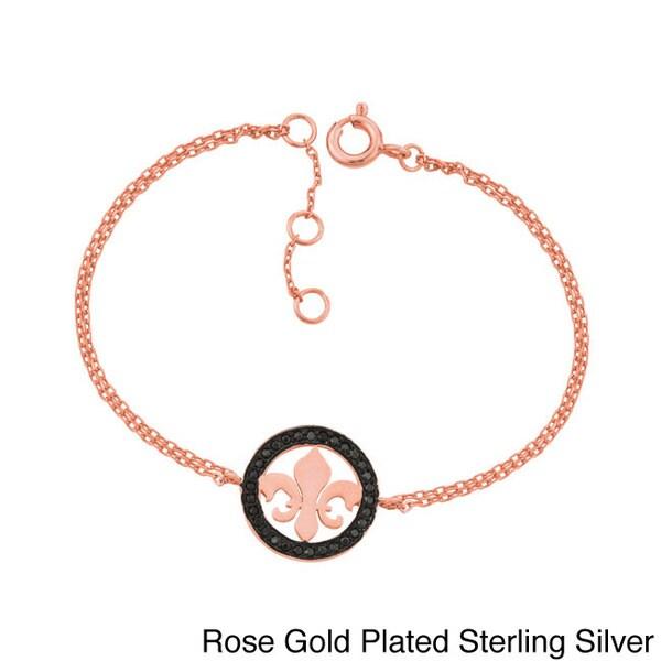 Sterling Silver Black Cubic Zirconia Fleur de Lis Bracelet
