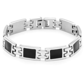 Stainless Steel Men's Black Onyx Inlay Bracelet