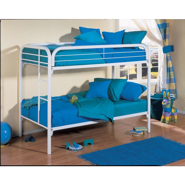 K&B B7028W White Twin Size Bunk Bed