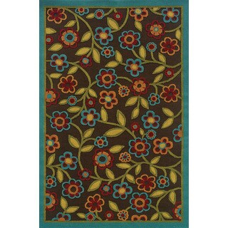 Indoor/ Outdoor Brown/ Multicolored Easy-care Area Rug (6'7 x 9'6)