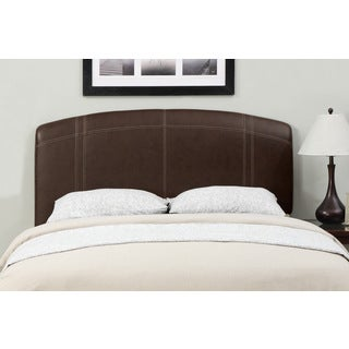 Brown Stitched Leather Full/ Queen-size Headboard