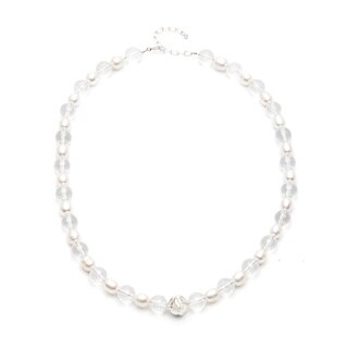 FW Pearl and Clear Crystal 20-inch Strand Necklace (7.4-9.3 mm)