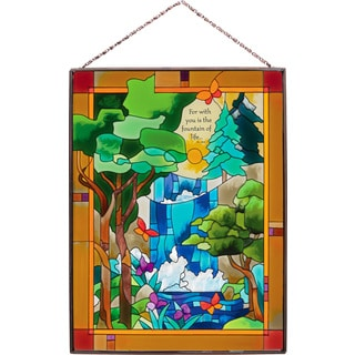 Joan Baker 'Tiffany Waterfall' Stained Glass Art Panel