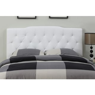 Cream Leather Full/ Queen-size Tufted Headboard
