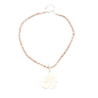 Mother of Pearl Flower and FW Pearl Necklace (2-4 mm)