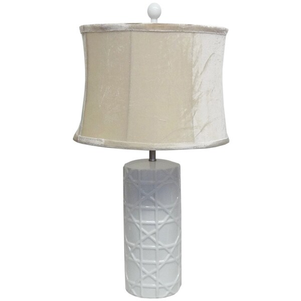 White Criss-cross Porcelain Lamp