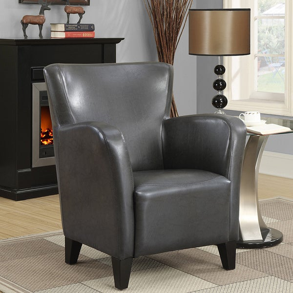 Charcoal Grey Leatherette Club Chair