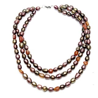 Purple and Green FW Pearl and Agate 20-inch 3-strand Necklace (8-9 mm)
