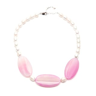 Pink Agate and Freshwater Pearl 20-inch Necklace (7-8 mm)