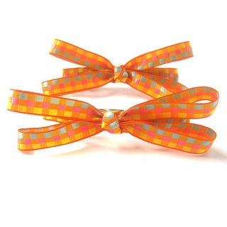 Crawford Corner Shop Set of Two Orange and Yellow Checkered Hair Bows