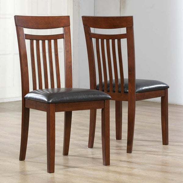 Antique Oak Brown Leatherette Side Chairs (Set of 2)